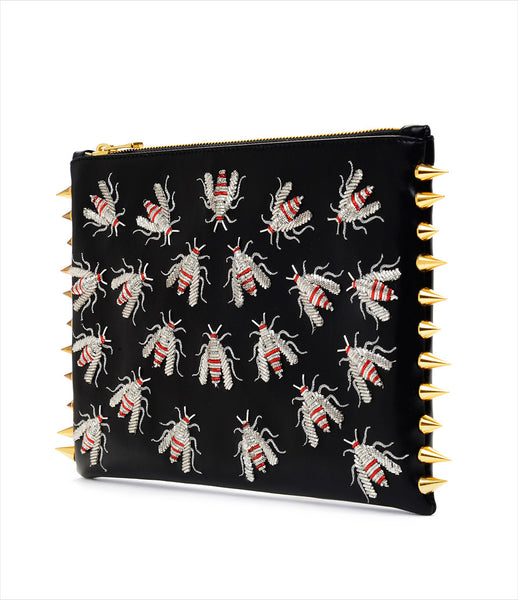 CMPLTUNKNWN_clutch_accessory_Italian_vegan_leather_black_animal_hand_embroidered_silver_red_wasps_spikes_edgy_kidsofdada