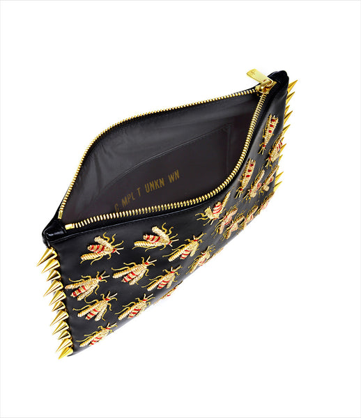 CMPLTUNKNWN_clutch_accessory_vegan_leather_black_bees_hand_embroidered_gold_embellished_red_wasps_spikes_edgy_kidsofdada