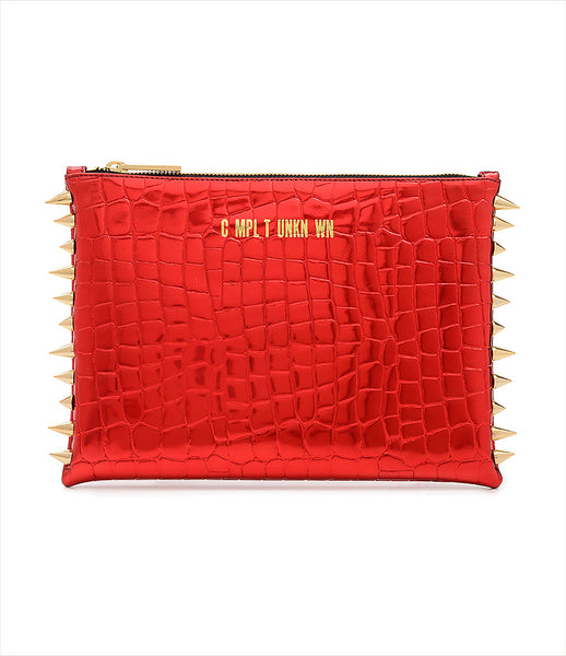 CMPLTUNKNWN_clutch_accessory_vegan_leather_metallic_red_crocodile_spikes_zip_golden_logo_edgy_fashion_kidsofdada