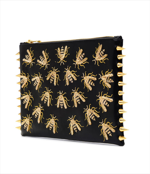CMPLTUNKNWN_clutch_accessory_Italian_vegan_leather_black_animal_hand_embroidered_gold_wasps_spikes_edgy_fashion_kidsofdada