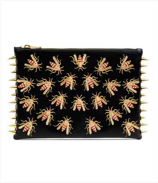 CMPLTUNKNWN_clutch_accessory_vegan_leather_black_animal_hand_embroidered_gold_embellished_red_wasps_spikes_edgy_kidsofdada