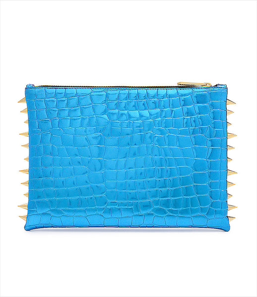 CMPLTUNKNWN_clutch_accessory_Italian_vegan_leather_metallic_turquoise_crocodile_spikes_zip_golden_logo_edgy_fashion_kidsofdada