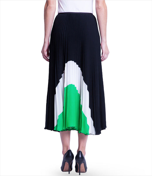 Chikimiki_skirt_clothing_under_500_polyester_black_green_white_pleated_geometrical_flawy_whimsical_sophisticated_fashion_kidsofdada