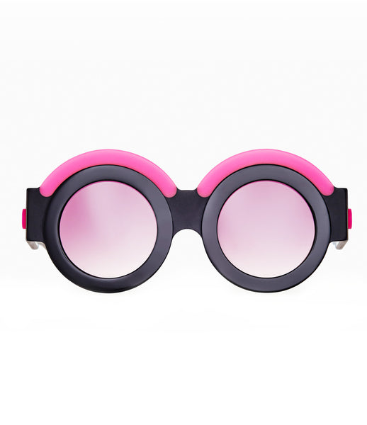 Fakoshima_sunglasses_accessory_under_300_Italian_acetate_pink_black_round_lenses_futuristic_fashion_kidsofdada
