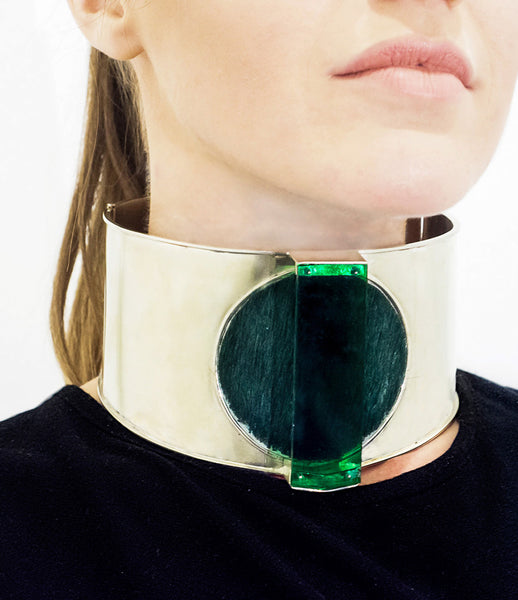 Isabel_Englebert_necklace_jewelry_handmade_silver_cow_hair_acrylic_green_choker_thick_statement_70s_fashion_kidsofdada