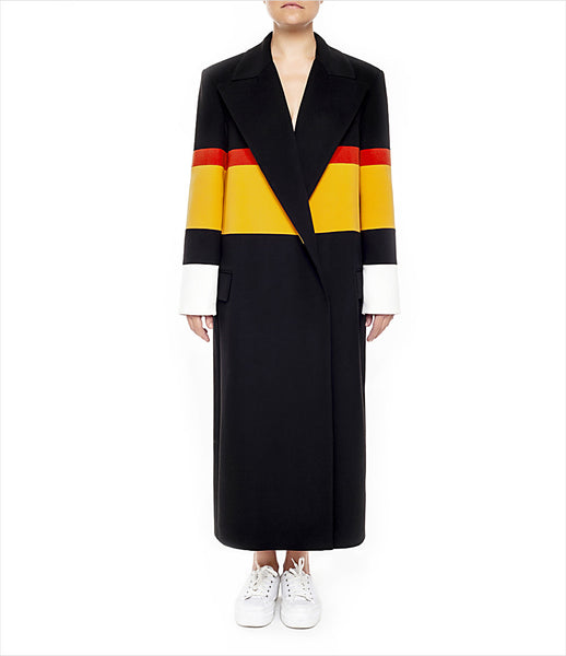 Marianna_Senchina_coat_clothing_handmade_bespoke_black_yellow_red_oversized_stripe_unisex_double_breasted_fashion_kidsofdada