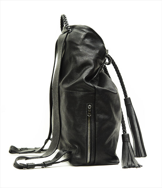 Moses_Nadel_backpack_accessory_handmade_made_to_order_leather_black_braided_tassels_versatile_urban_fashion_kidsofdada