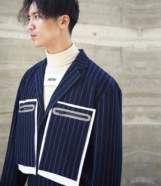 Path_pinstripe_denim_jacket_oversized_pockets_blue_290_boxy_menswear_streetwear_velcro_lapel_print_fashion_kidsofdada