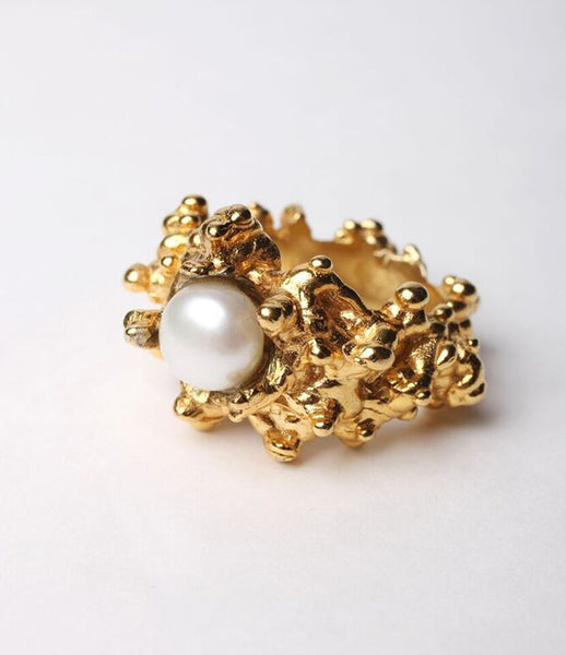 Reo_jewels_jewelry_jewellery_cluster_ring_sterling_gold_statement_striking_pearl_gold_plated_moss_front_kidsofdada