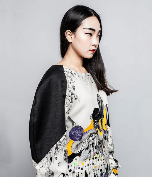 Sijon_Park_top_reglan_wool_multi_colour_handmade_black_fashion_oversized_handprinted_digital_Kids-of-Dada
