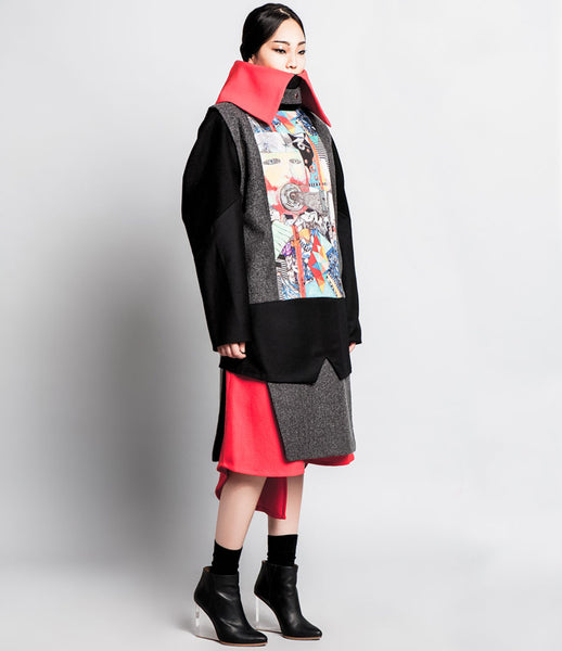 Sojin_Park_jacket_fashion_wool_multi_color_oriental_handprinted_artistic_kidsofdada