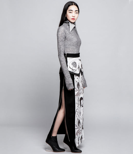 Sojin_Park_skirt_long_layered_panel_handpainted_artistic_assymetric_wool_digital_monochrome_statement_KidsofDada