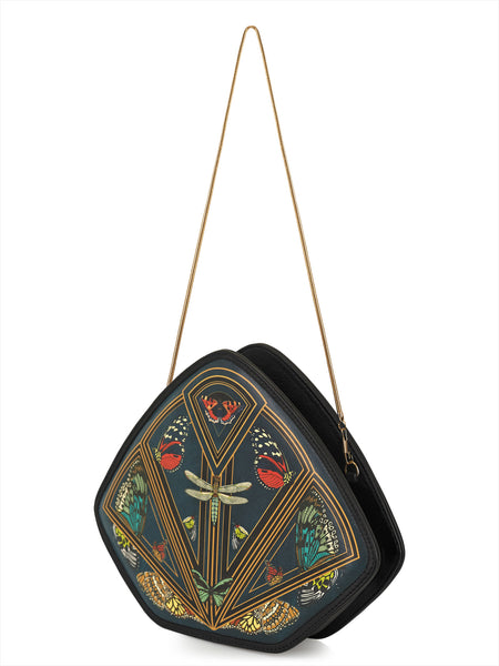 FeatherM_clutch_shoulderbag_accessory_printed_leather_multicolored_butterfly_leather_strap_golden_chain_vintage_fashion_kidsofdada