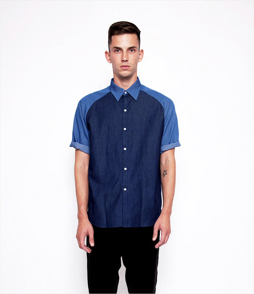 Andrew_Coimbra_denim_button-down_shirt_short-sleeve_two-tone_classic_contemporary_unisex_mens_womens_fashion_clothing_kidsofdada