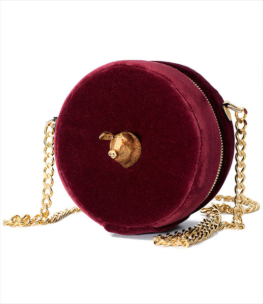 Carla_Lopez_circular_round_shoulderbag_accessory_handmade_velvet_burgundy_pig_long_gold_chain_whimsical_fashion_kidsofdada