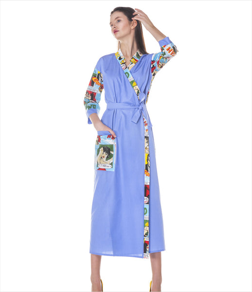 LAKSMI_cartoon_print_graphic_periwinkle_blue_comic_robe_midi_contemporary_pop-art_womens_fashion_clothing_kidsofdada