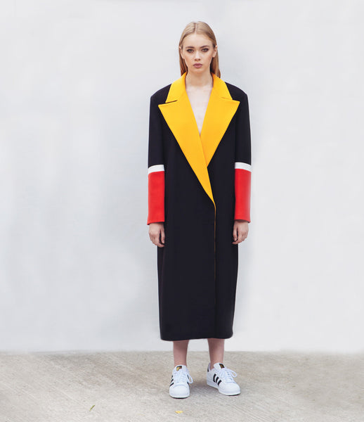 Marianna_Senchina_coat_clothing_handmade_polyester_black_yellow_red_unisex_oversized_stripes_double_breasted_fashion_kidsofdada