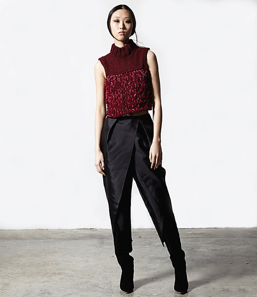 Matt_Hui_top_clothing_handmade_merino_wool_velvet_weave_burgundy_backless_turtle_neck_edgy_fashion_kidsofdada