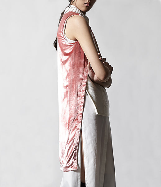 Matt_Hui_vest_clothing_handmade_merino_wool_pink_sleeveless_velvet_back_panel_turtle_neck_edgy_kidsofdada