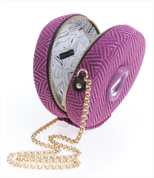 Carla_Lopez_pink_shoulder_round_circular_handbag_chain_lips_herringbone_fabric_handmade_mirror_fashion_womens_kidsofdada