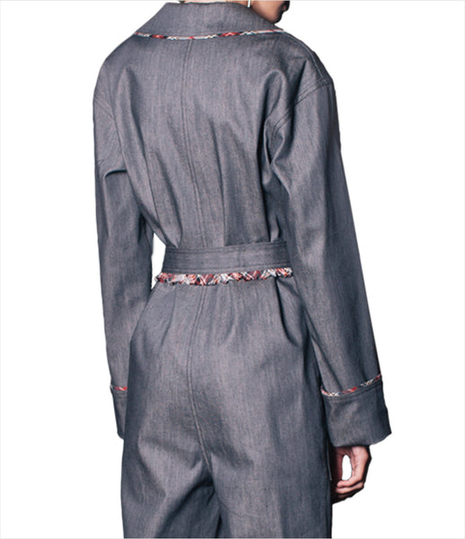 Jean-Gritsfeldt_denim_jumpsuit_flared_frayed_raw-edges_v-neck_belt_wrap_checked_lapel_womens_fashion_kidsofdada