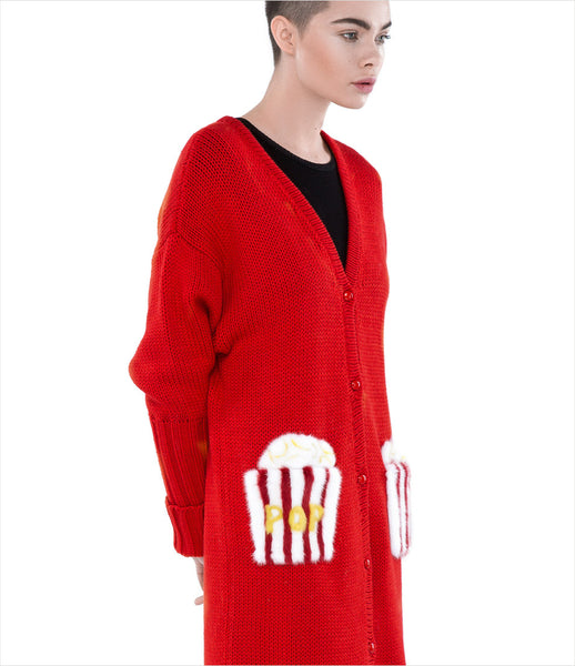 Blood_Honey_popcorn_cardigan_red_fur_pockets_mink_pop_art_luxury_elegant_statement_womens_fashion_kidsofdada