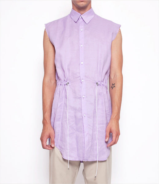 Andrew_Coimbra_smock_sleveless_blue_rose_lavender_tie-waist_drawstring_button-down_top_unisex_womens_mens_fashion_clothing_kidsofdada