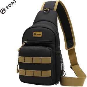 POSO Crossbody Bag Mens Outdoor Sports Bag Triangle Chest Bag With USB Port Shoulder Bags