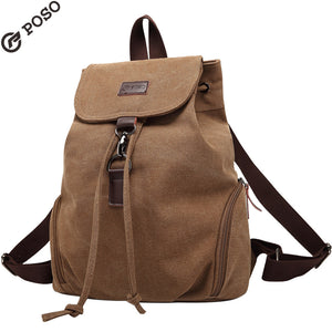 POSO Fashion Womens Canvas Backpack Multi-function Shoulder Laptop Bag