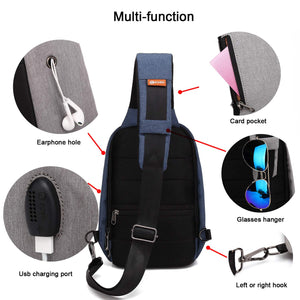 POSO Crossbody Bag Outdoor Chest Bag Shoulder Bag Sports Diagonal Package With USB Charging Port