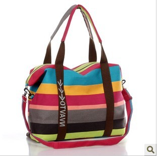 Women Casual Beach Bag Canvas Shoulder Bags Striped Shopping Tote Handbag Fashion Messenger Bags
