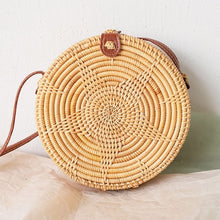 Load image into Gallery viewer, 2019 Hand Woven Round Bamboo Bag Straw Handbag Women Beach Style Circular Shoulder Bags Bohemian Rattan Crossbody Bags