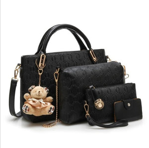 Black Vintage Women 4 Set Handbags Pu Leather Fashion Designer Handbag Female Shoulder Bag