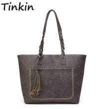 Load image into Gallery viewer, Vintage Lady Elegant Shopping Handbag Retro PU Tassel Women Shoulder Bag Female Daily Causal Totes