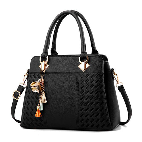 Fashion Tassel PU Leather Totes Shoulder Bag Women Simple Style Handbags Embroidery Crossbody Bag