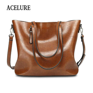 Pu Leather Women Shoulder Bag Fashion Oil Wax Leather Women Handbags Large Capacity Tote Bag Casual Women Messenger bag