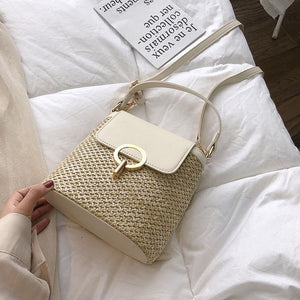 2019 Summer Small Straw Bucket Bags Lady Travel Crossbody Bags Female Shoulder Messenger Bag