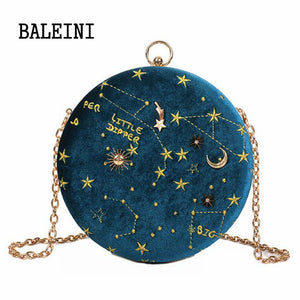 2019 Female Round Handbag Starry Sky Fashion Suede Shoulder Bag Chain belt Women's Crossbody Messenger Bags Ladies Purse