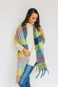 Yellow/Blue Check Blanket Scarf