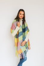 Load image into Gallery viewer, Yellow/Blue Check Blanket Scarf