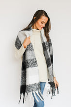 Load image into Gallery viewer, Black/Grey Check Blanket Scarf