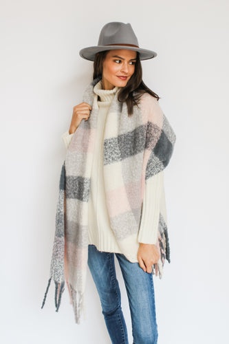 Pink/Grey Check Blanket Scarf