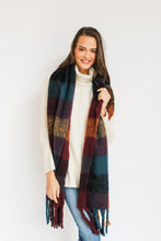 Load image into Gallery viewer, Maroon/Mustard/Navy Check Blanket Scarf