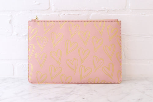 Pink Heart Print Pouch