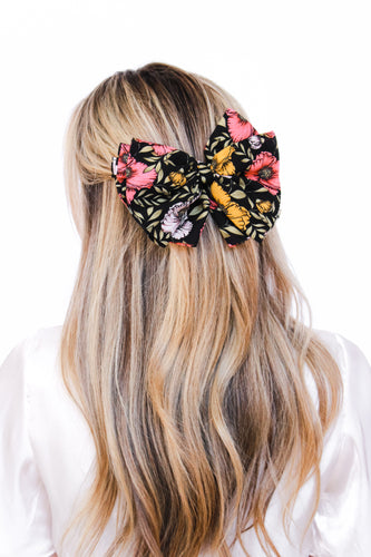 Penelope Black Floral Hair Bow