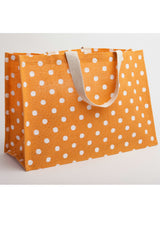 Jute Tote Orange & White Dots Oversized
