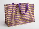 Jute Tote Hounds Tooth Over-sized