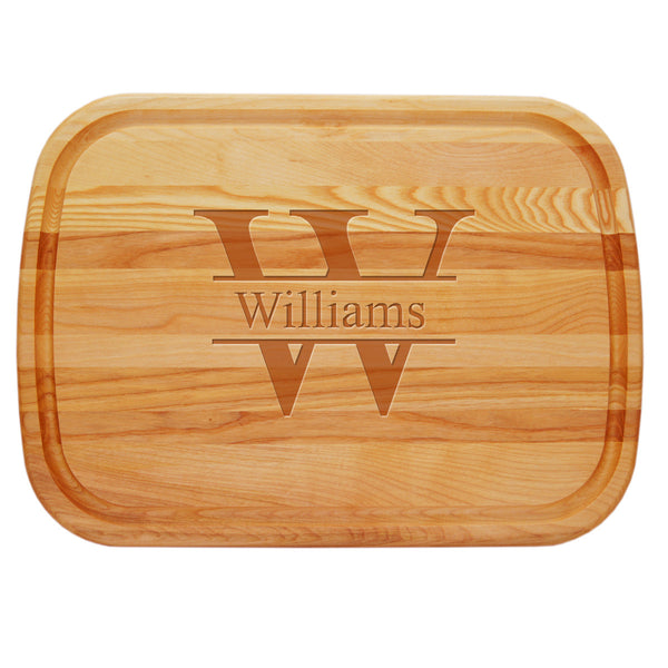 Wood Carving Tray with Pewter Handles