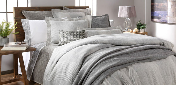 grey stripe organic linen duvet collection cozy and classic