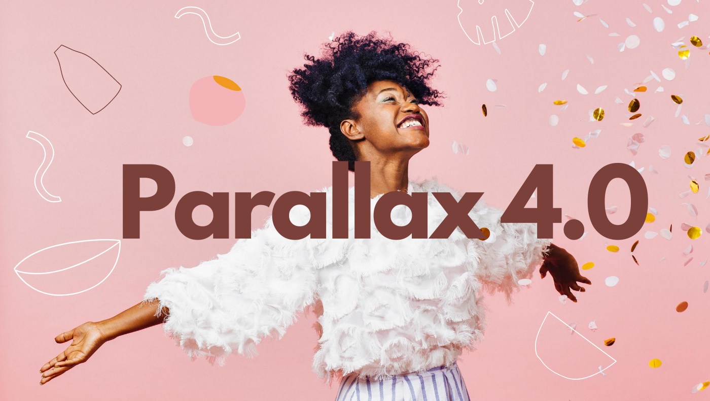 Woman excited with Parallax 4.0 heading